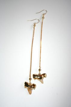 24k gold dipped real shark tooth drop earrings.