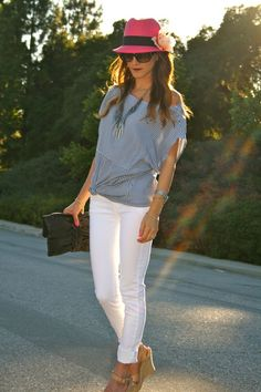 not so much the hat...but I love the shirt and love the white skinnys
