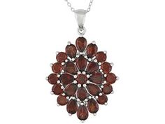 11.58ctw Pear Shape And Round Vermelho Garnet Sterling Silver Pendant With Chain
