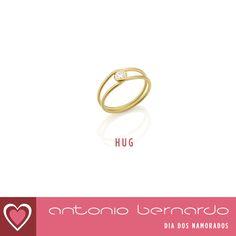 Anel em ouro amarelo 18k e 1 diamante lapidação brilhante de 0,16ct