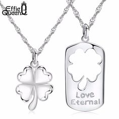 Clover Pendant Necklace Set for Couples perfect for Valentine's Day #EffieQueen