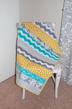 Teal Grey and Yellow Striped Baby Quilt by Nooches on Etsy, $70.00