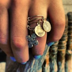 ring charms.... i think i just found my new favorite thing. Alex And Ani Rings, Alex And Ani Jewelry, Alex And Ani Bracelets, Alex Ani, Charm Bracelets, Jewelry Box, Jewelery, Jewelry Accessories, Jewelry Making