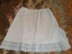 Nylons, Sassy, Panty Images, Mini Slip, Lace Trim, Cheer Skirts, Elastic Waist, 1960s, Light Blue