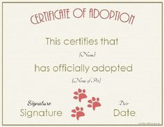Free Pet Adoption Certificate Template Elegant 27 Of Animal Certificate Template Christmas Gift Certificate Template, Birth Certificate Template, Adoption Certificate, Certificate Design, Kitten Party, Cat Party, Free Pet Adoption, Perfect Attendance Certificate, Adoption Papers