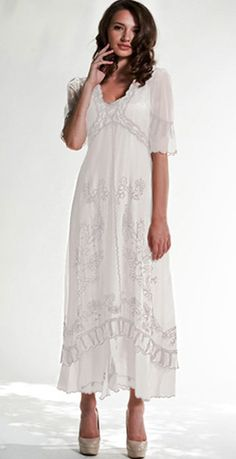Vintage style embroidered informal wedding Nataya 40007 Titanic Tea Dress