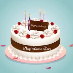 Write Name On Happy Birthday Strawberry Cake Images