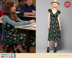 Riley's black and blue floral midi dress on Girl Meets World.  Outfit Details: http://wornontv.net/36948/ #GirlMeetsWorld