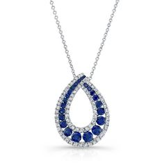HIGH QUALITY NATURAL COLOR 18K WHITE GOLD TRENDY ROUND SAPPHIRE TEAR DROP DIAMOND PENDANT DESINGED WITH ROUND WHITE DIAMONDS, FEATURES 1.28 CARAT TOTAL WEIGHT
