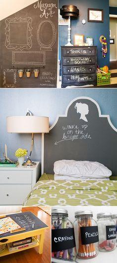 DIY chalk paint furniture/walls/jars. ! #diy #chalkboard Kids bedroom headboard, mason jars, and more projects.