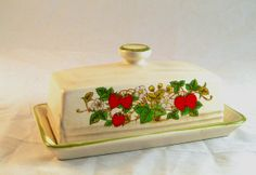 Ceramic Butter Dish Strawberry Pattern