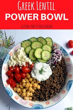 This Greek lentil power bowl has tomatoes, red onions, chickpeas, cucumber feta & a creamy yogurt sauce. No cook vegetarian meal prep lunch. Lentil Recipes, Vegan Recipes, Cooking Recipes, Greek Recipes, Whole Food Recipes, Comidas Light, Dinner Bowls, Mediterranean Diet Recipes, Mediterranean Diet Breakfast