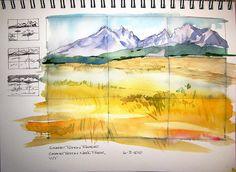 Watercolor Sketch - Grand Teton Range by Steve Penberthy, via Flickr