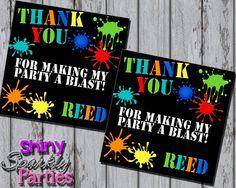 Printable PAINTBALL FAVOR TAGS - Paintball Birthday Party Favor Tags - Paintball…
