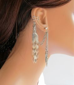 Ear Cuff Grizzly Feather Double Chain by RazzleDazzleMe on Etsy, $17.00