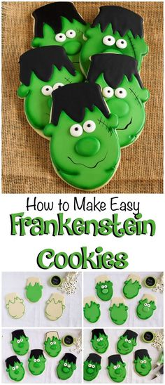 Make these easy Frankenstein cookies for your little trick or treaters. They are sugar cookies decorated with royal icing and a perfect Halloween treat. Halloween Cookies Decorated, Halloween Sugar Cookies, Halloween Sweets, Halloween Goodies, Halloween Cakes, Halloween Biscuits, Fall Cookies, Iced Cookies, Cute Cookies