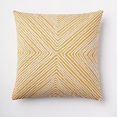 yellow Throw Pillows | west elm. Embroidered with thick cotton threads to create a raised pattern, the Diamond Dot Crewel Pillow Cover