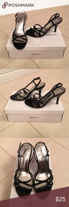 Style & Co black high heel slingback sandals Super sexy black textured high heel slingback sandals.  Worn once to a wedding.  Excellent condition. Style & Co Shoes Heels