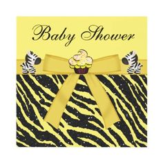 Cute zebras & cupcake neutral yellow and black glitter animal print baby shower invitations. Beautifully decorated both sides. Easy to customize online. $1.95. Perfect for twins!