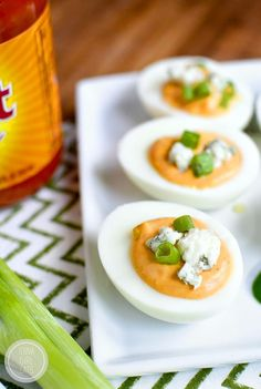 Buffalo Ranch Deviled eggs are truly devilish-tasting thanks to spicy buffalo wing sauce and cooling ranch dressing in the mix! #glutenfree | iowagirleats.com