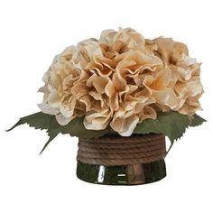 Silk hydrangea arrangement in a glass vase with rope accents.   Product: Faux floral arrangementConstruction Materi...