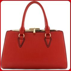 Gorgeous Metal Frame Red Bag-NON BUNDLE ITEM This awesome bag features a unique twist clasp closure, removable adjustable strap, 20 inch handles, 49 inch strap, gold tone hardware, metal frame, fully lined. Size: L 16 inches, X H 9 inches X W 6 inches ( This closet does not trade or use PayPal) Bags Shoulder Bags