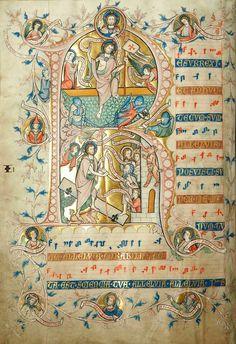 Harrowing of Hell and Resurrection illuminated manuscript