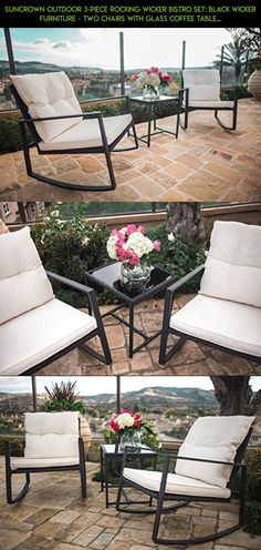 Suncrown Outdoor 3-Piece Rocking Wicker Bistro Set: Black Wicker Furniture - Two Chairs with Glass Coffee Table (White Cushion) #fpv #gadgets #3 #kit #plans #tech #parts #clearance #camera #racing #products #drone #technology #patio #shopping #furniture #sets