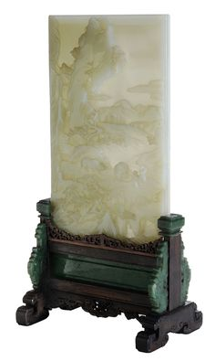 Very Fine Carved Pale Jade Table Screen - Sold for 1.4 million at Brunk Auctions