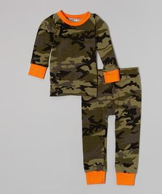 Look what I found on #zulily! Orange Camo Pajama Set - Infant, Toddler & Boys by Cat & Cow #zulilyfinds