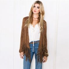 ❗️COMING SOON❗️Brown fringe jacket Beautiful with jeans or leggings! Very in style and modern. Perfect addition to any outfit! MEASUREMENTS: 14.4 inch shoulder, 24.6 inch sleeves, 36.7 inch bust, 26.1 inch length. ‼️RESERVE NOW FOR $39‼️ Meg's Boutique Jackets & Coats