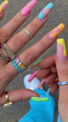 Bright Acrylic Nails, Bling Acrylic Nails, Acrylic Nails Coffin Short, Best Acrylic Nails, Bright Colored Nails, Colourful Nails, Bright Nail Art, Pastel Nails, Funky Nails