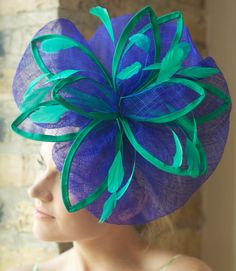 Unique Blue   Green Kentucky Derby Fascinator - Express Overnight 1 Day  Shipping Available! e72cdaf5ff7