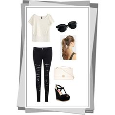 A fashion look from February 2015 featuring H&M tops, Betsey Johnson sandals and Oliver Peoples sunglasses. Browse and shop related looks.