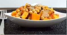 Roasted butternut squash and chickpea pasta (will use whole wheat pasta) YUM!