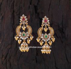 Gorgeous Polki Gold Buttalu from creations jewellery, bangalore in chandbali design. The lovely chandbali and jhumka fusion earrings Gold Jhumka Earrings, Gold Earrings Designs, Gold Jewellery Design, Antique Earrings, Silver Jewellery, Diamond Jewellery, Jhumka Designs, Silver Ring, Diamond Earrings