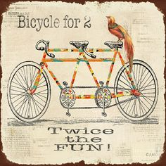 Bicycle For 2 Digital Art  - Bicycle For 2 Fine Art Print