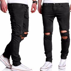 A.BLISS 2017 Men Ripped Biker Jeans Distressed 100% Cotton Black Slim Fit Motorcycle Jeans Men's Skinny Hole Denim Joggers Pants