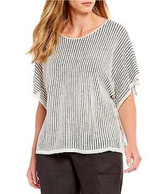 407ceb29856a Eileen Fisher Plus Size Jewel Neck Short Sleeve Striped Top Plus Size Tops, Plus  Size