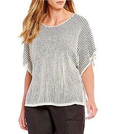 4b4a4b76b16f15 Eileen Fisher Plus Size Jewel Neck Short Sleeve Striped Top Plus Size Tops,  Plus Size