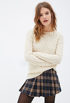 Loving this look for fall with the Purl Knit Sweater and plaid school girl skirt | Forever 21 - 2000081791
