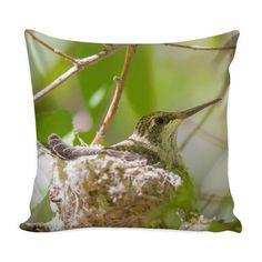 "Baby Hummingbird Throw Pillow Cover 16"" Decorative Pillowcase"