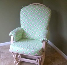 Items similar to Rocking Chair Slipcover - Custom Fitted on Etsy Nursery Inspiration, Nursery Ideas, Bedroom Ideas, Repurposed Furniture, Furniture Redo, Slipcovers For Chairs, Baby Bedroom, Soft Furnishings, Rocking Chair