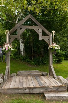 This is a charming arbor for a rustic country wedding.
