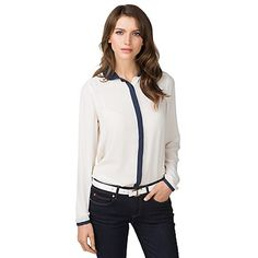Tommy Hilfiger women's shirt. Our ladylike blouse boasts a demure collar and contrasting trim. Styled from soft fabric that drapes just like silk (with none of the maintenance). <br/>•Classic fit.<br/>•100% synthetic.<br/>•Contrast collar, placket and cuffs.<br/>•Machine washable.<br/>•Imported.<br/>