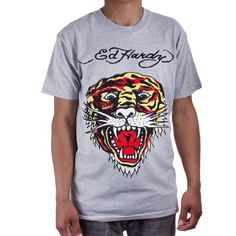 Ed Hardy Mens Tiger Tattoo Graphic Tee Shirt - Grey - http://currentlythebestonline.com/shirtmaster/ed-hardy-mens-tiger-tattoo-graphic-tee-shirt-grey/