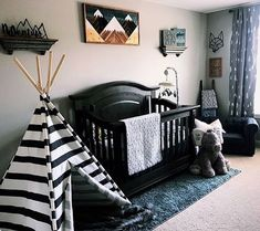 Dusty Square Designs Single Piece Stained Mountains look amazing in this beautifully designed baby nursery. Black Nursery Furniture, Wood Wall Nursery, Reclaimed Wood Wall Art, Nursery Inspiration, Single Piece, Baby Design, Toddler Bed, House Design, Couple Things
