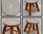 Banquinho mosaico simples madeira crua