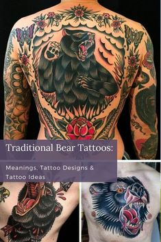 The roaring bear can inspire people to get in touch with their wild side.Some artists add flair to their bear tattoos. Other artists prefer to keep it simple. Flowers, skulls, and hunting bows sometimes get portrayed as part of the design. Traditional Bear Tattoo, Traditional Tattoo Design, Bear Tattoos, Animal Tattoos, Roaring Bear, Hunting Bows, Back Tattoos For Guys, Color Tattoos, Cool Forearm Tattoos