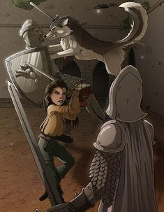 ASOIAF Arya and Nymeria against the king guards by ClaireLyxa.deviantart.com on @deviantART